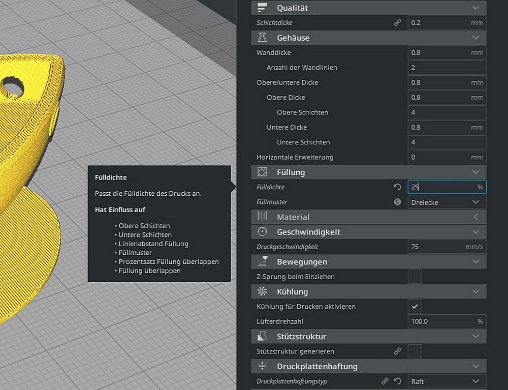3D Drucker Fülldichte